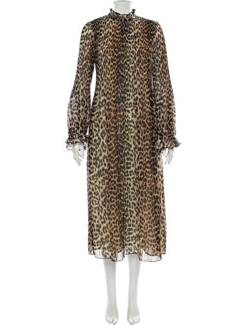 Ganni Animal Print Long Dress w/ Tags