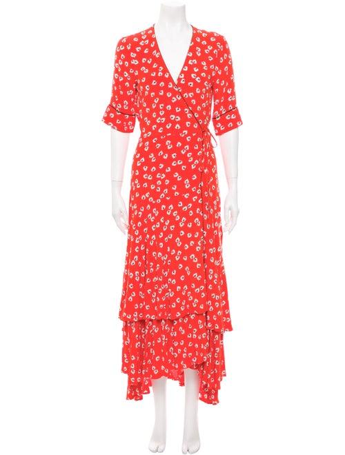 Ganni Floral Print Long Dress Red