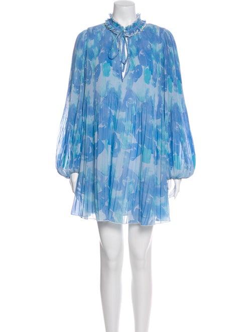 Ganni Printed Mini Dress Blue