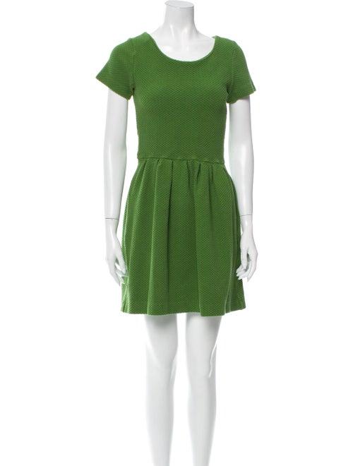 Ganni Scoop Neck Mini Dress Green