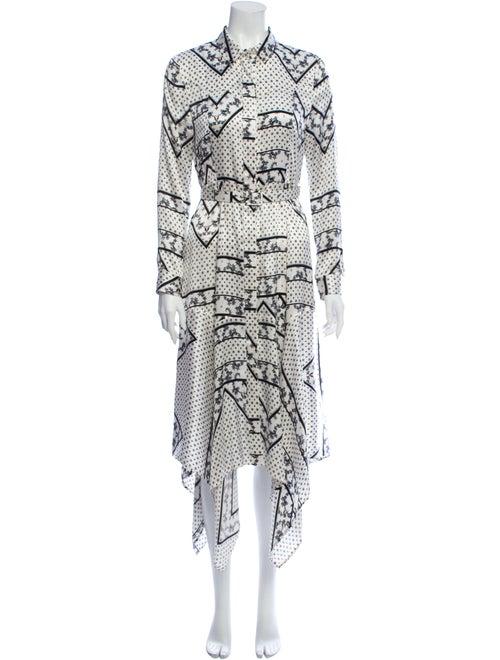 Ganni Silk Midi Length Dress White