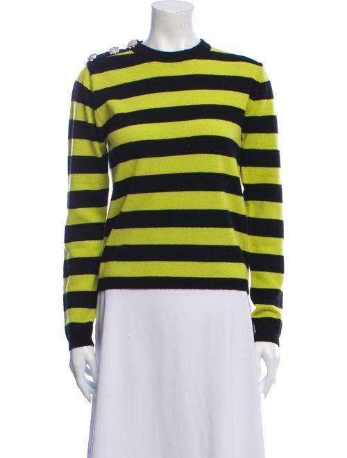 Ganni Cashmere Striped Sweater Green