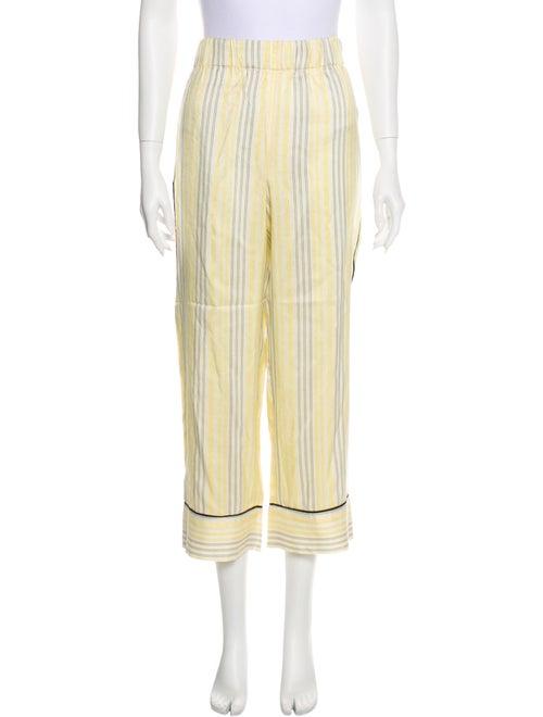 Ganni Silk Striped Pajamas Yellow