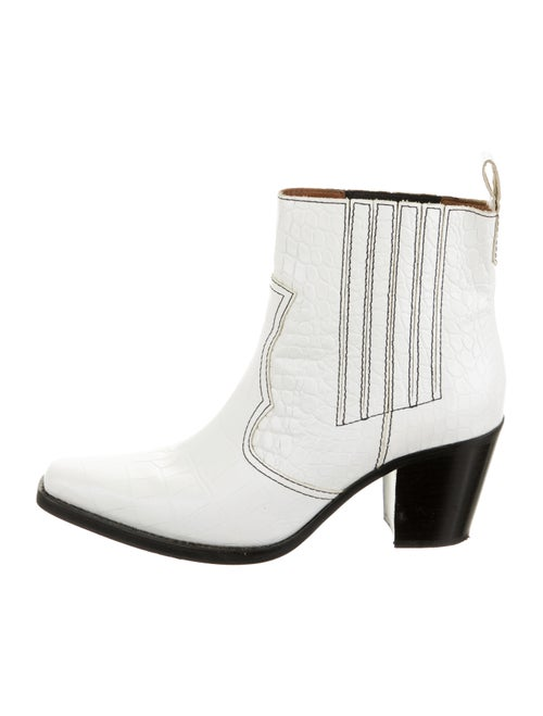 Ganni Leather Square-Toes Western Boots White
