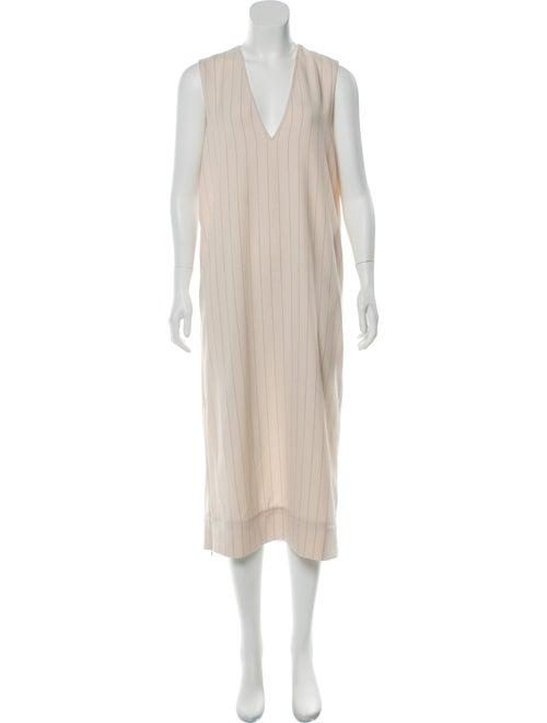 Ganni V-Neck Midi Length Dress White
