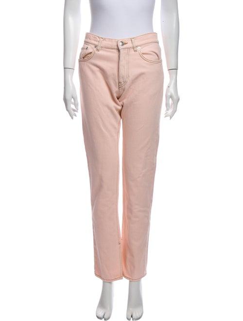 Ganni Mid-Rise Straight Leg Jeans w/ Tags Pink