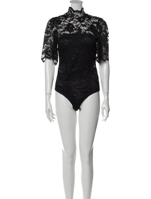 Ganni Lace Pattern Mock Neck Bodysuit Black
