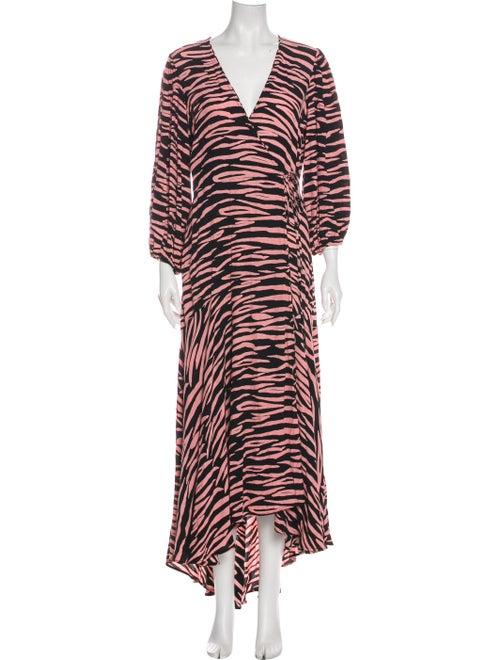 Ganni Animal Print Long Dress Pink