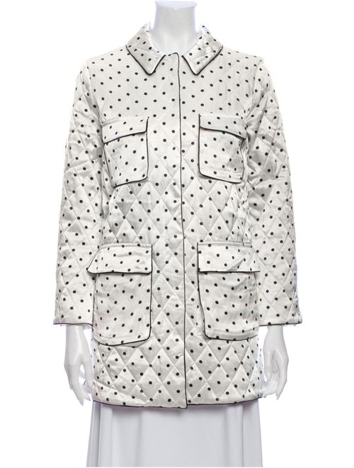 Ganni Polka Dot Print Trench Coat White