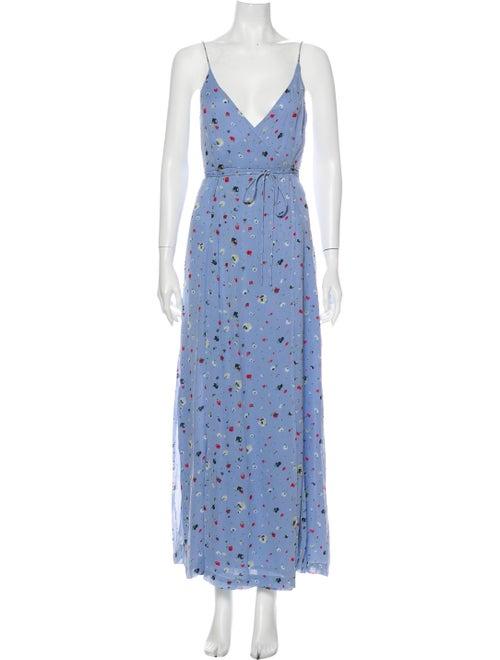 Ganni Floral Print Long Dress Blue