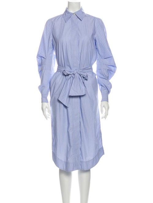 Ganni Striped Midi Length Dress Blue