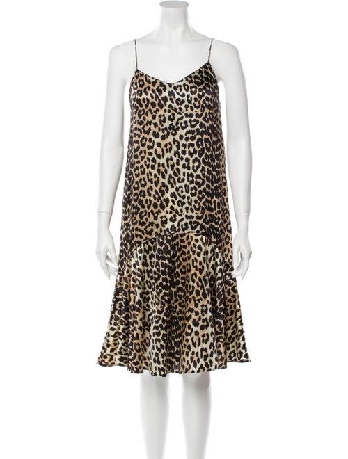 Ganni Silk Knee-Length Dress
