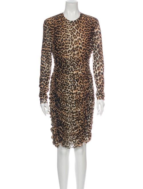 Ganni Animal Print Knee-Length Dress
