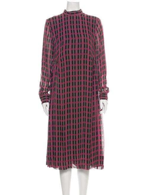 Ganni Plaid Print Midi Length Dress Pink