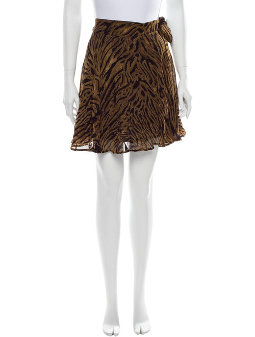 Ganni Animal Print Mini Skirt Brown