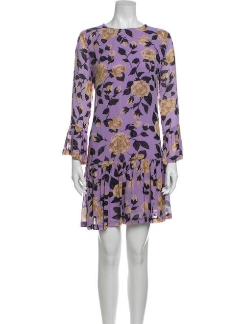 Ganni Floral Print Mini Dress Purple
