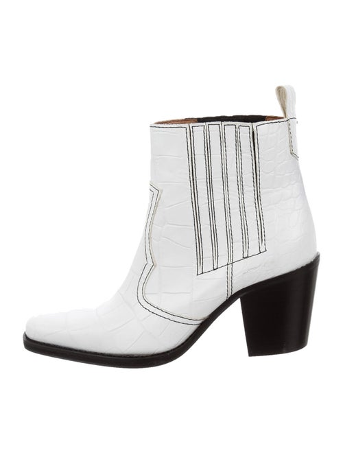 Ganni Embossed Leather Western Boots White