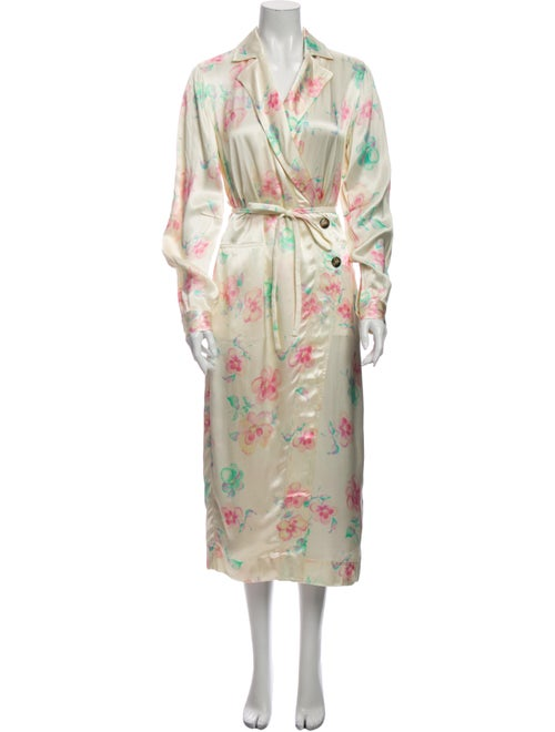 Ganni Floral Print Trench Coat
