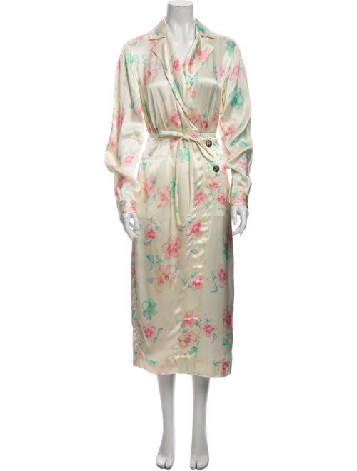 Ganni Floral Print Trench Coat - image 1