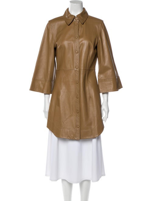 Ganni Lamb Leather Trench Coat Brown