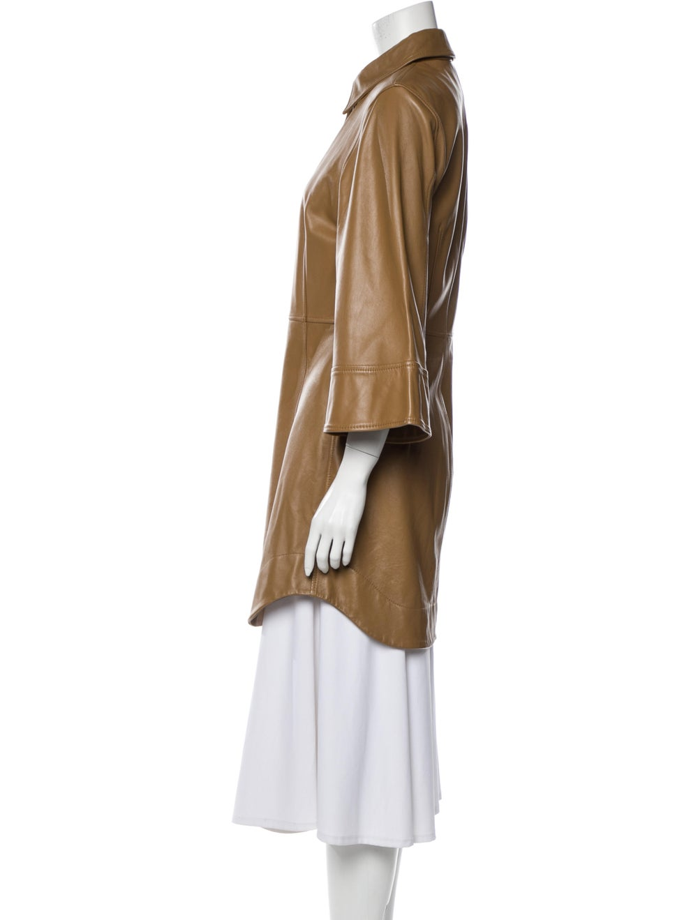Ganni Lamb Leather Trench Coat Brown - image 2