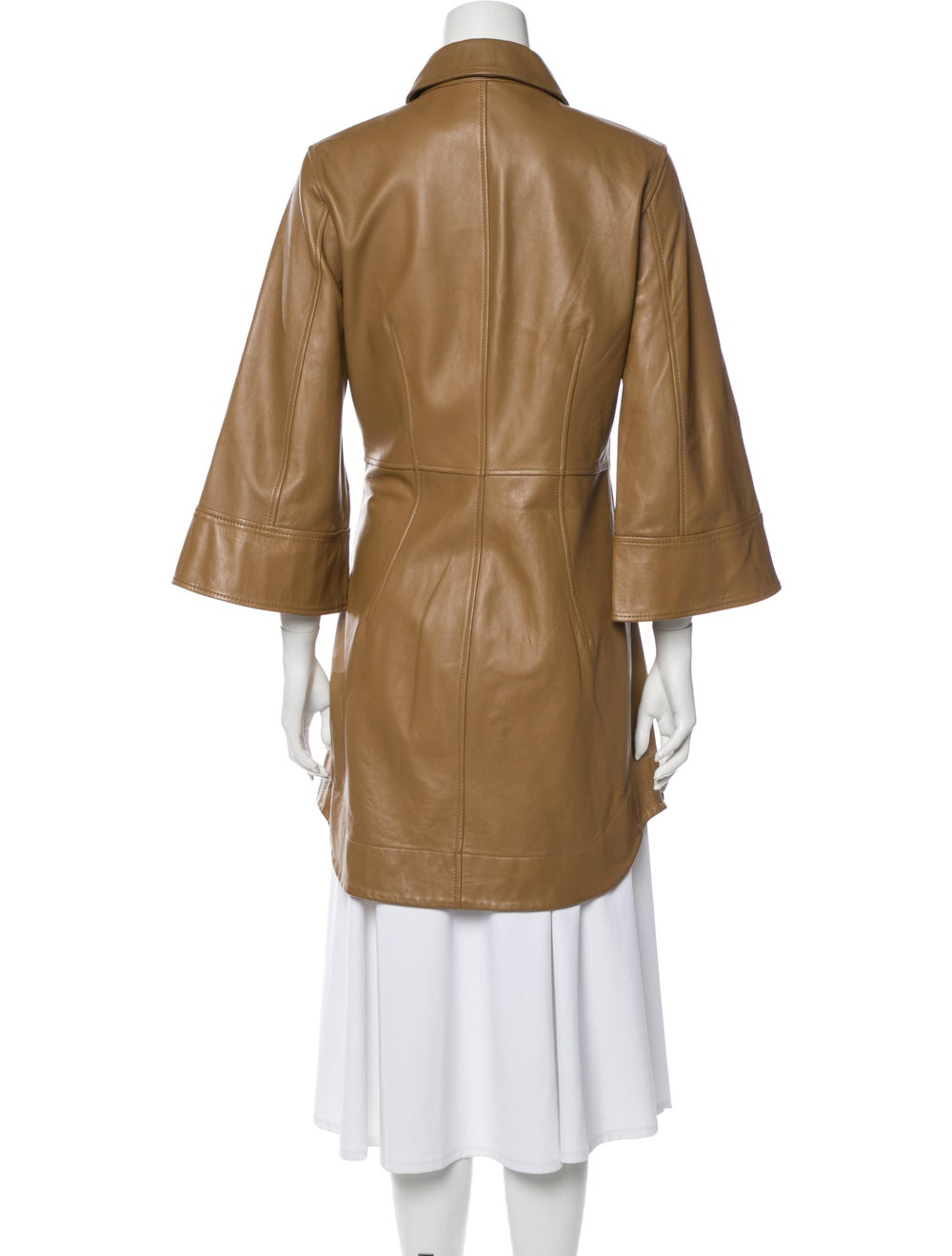 Ganni Lamb Leather Trench Coat Brown - image 3