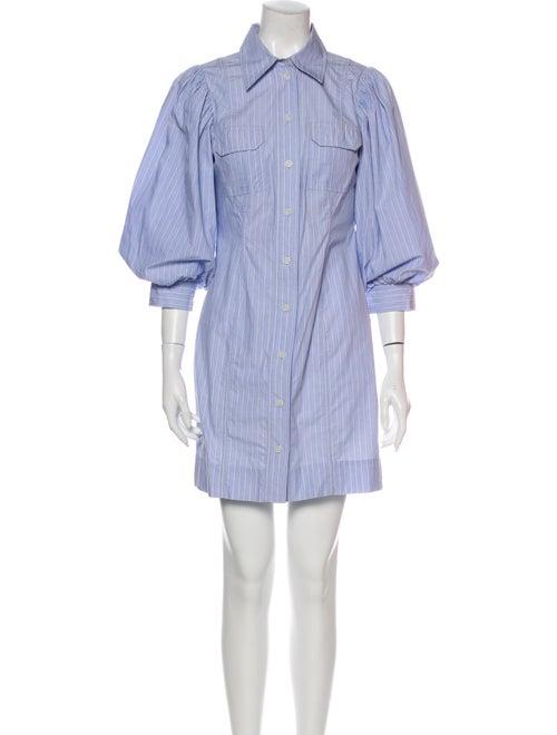 Ganni Striped Mini Dress Blue - image 1