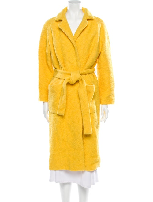 Ganni Faux Fur Coat Yellow
