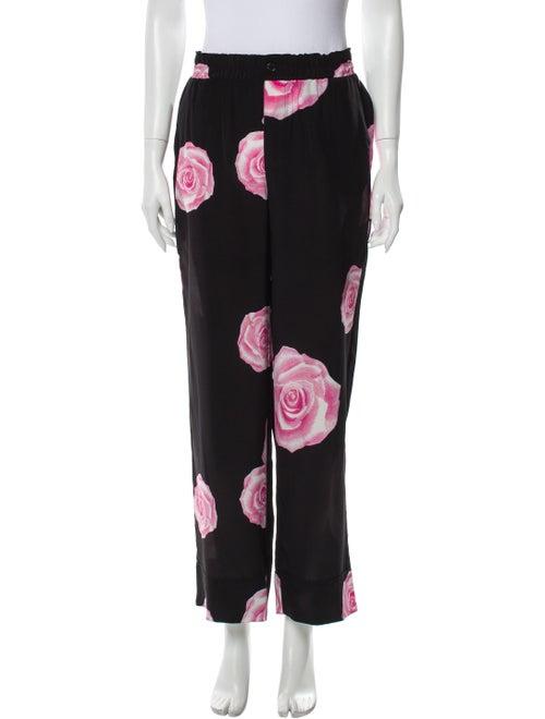 Ganni Silk Floral Print Pajamas Black