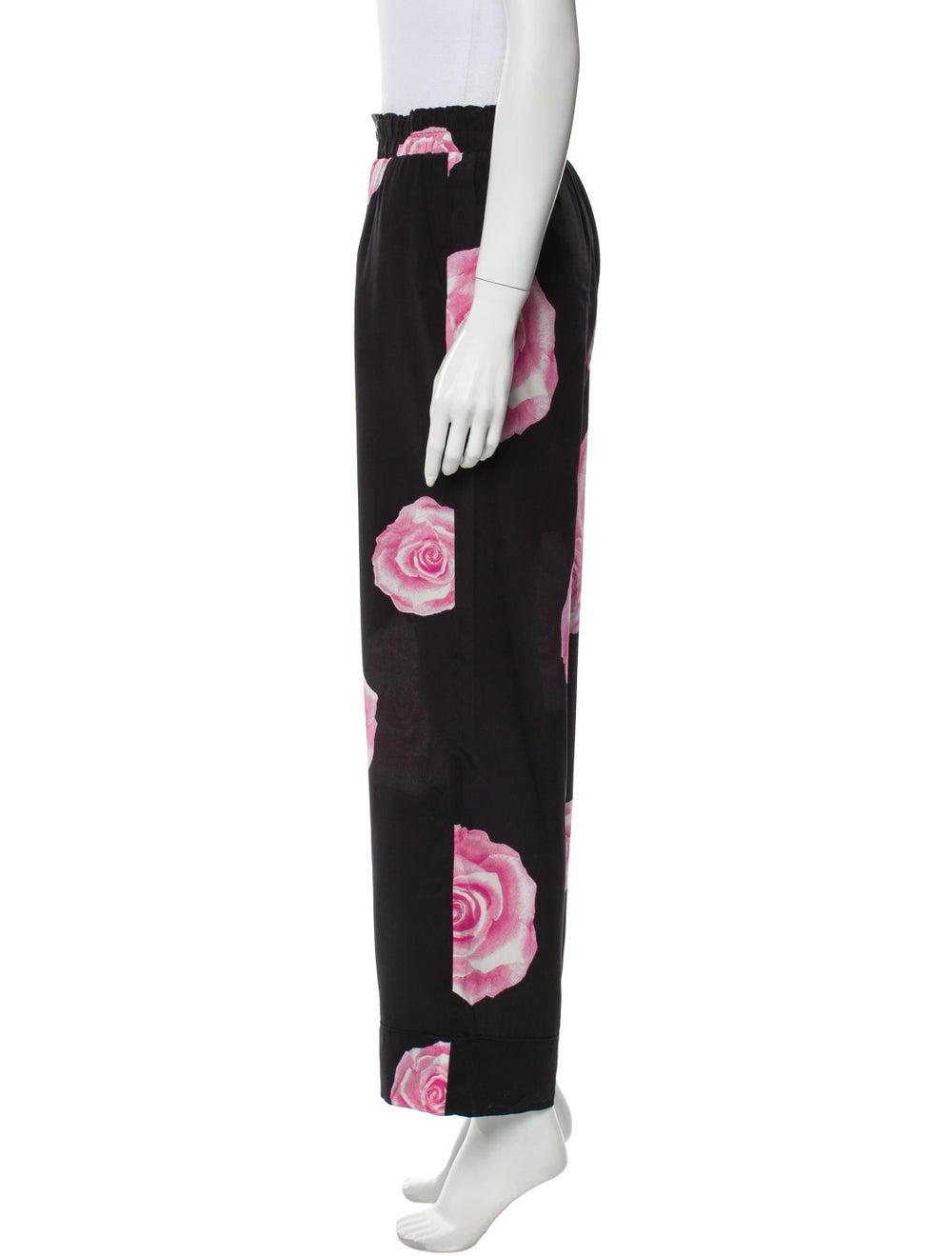 Ganni Silk Floral Print Pajamas Black - image 2