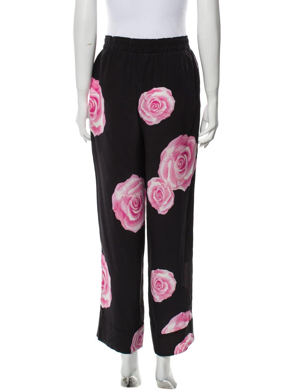 Ganni Silk Floral Print Pajamas Black - image 3