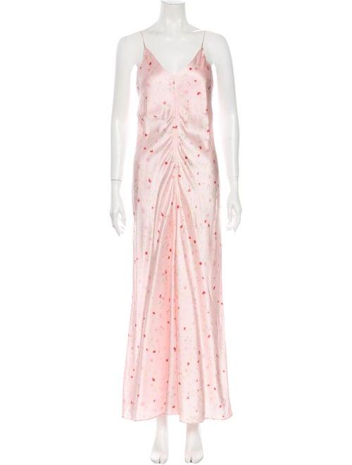 Ganni Silk Long Dress Pink