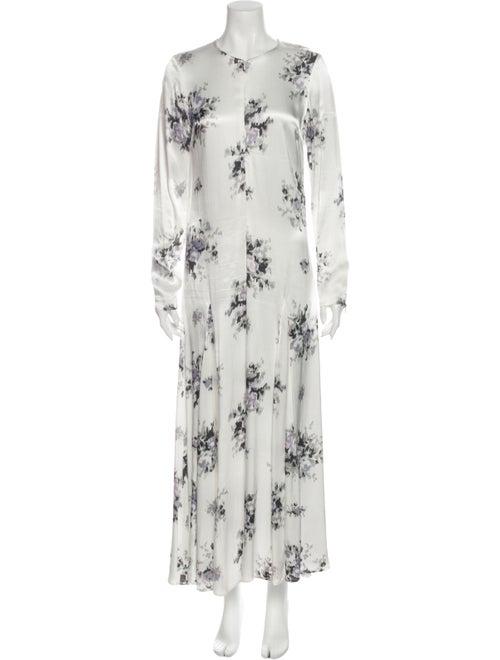 Ganni Floral Print Long Dress White