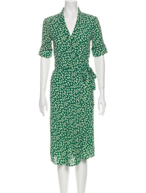 Ganni Printed Midi Length Dress Green - image 1