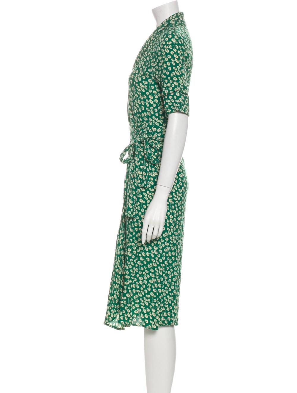 Ganni Printed Midi Length Dress Green - image 2