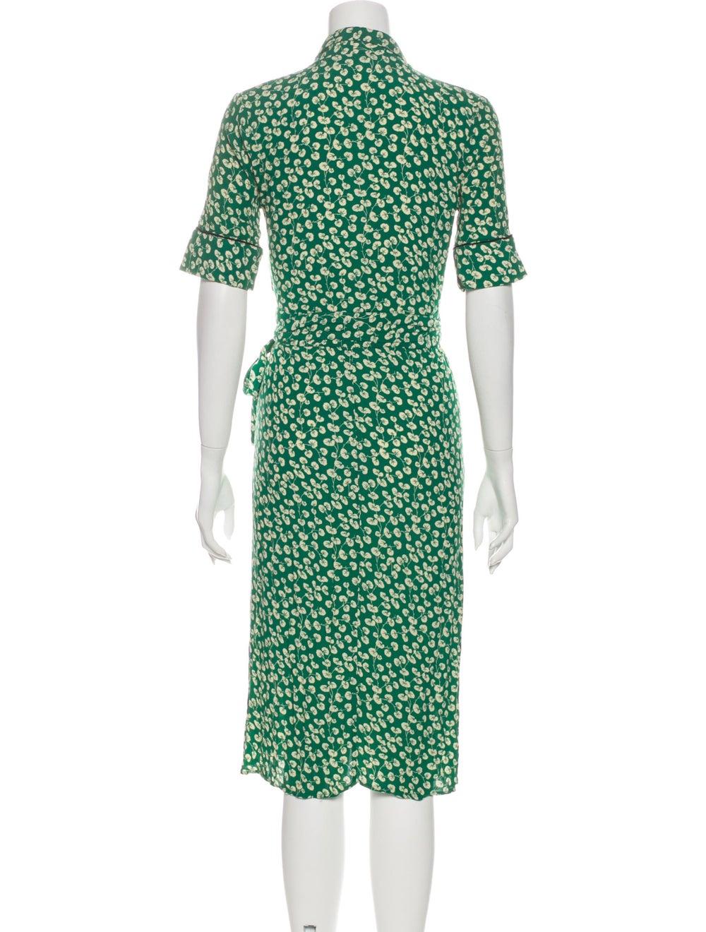 Ganni Printed Midi Length Dress Green - image 3