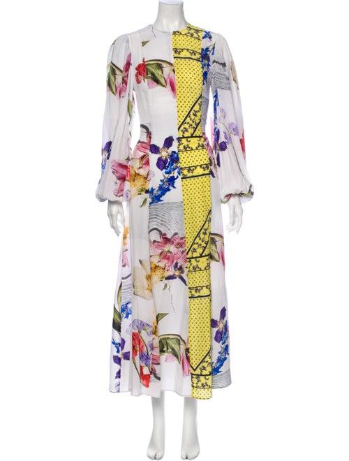 Ganni Printed Long Dress White