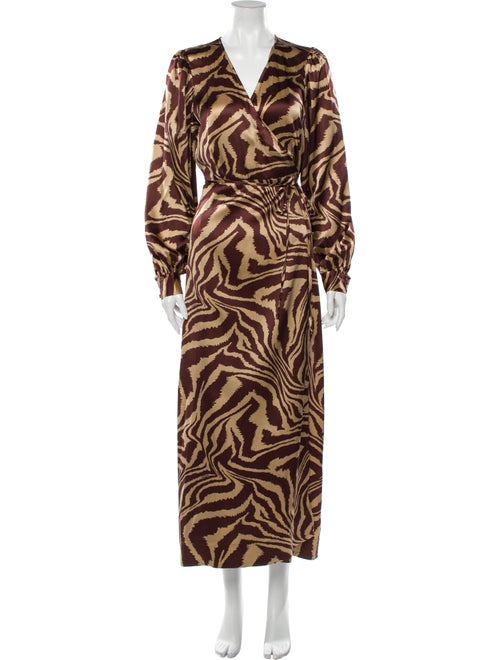 Ganni Silk Long Dress Brown