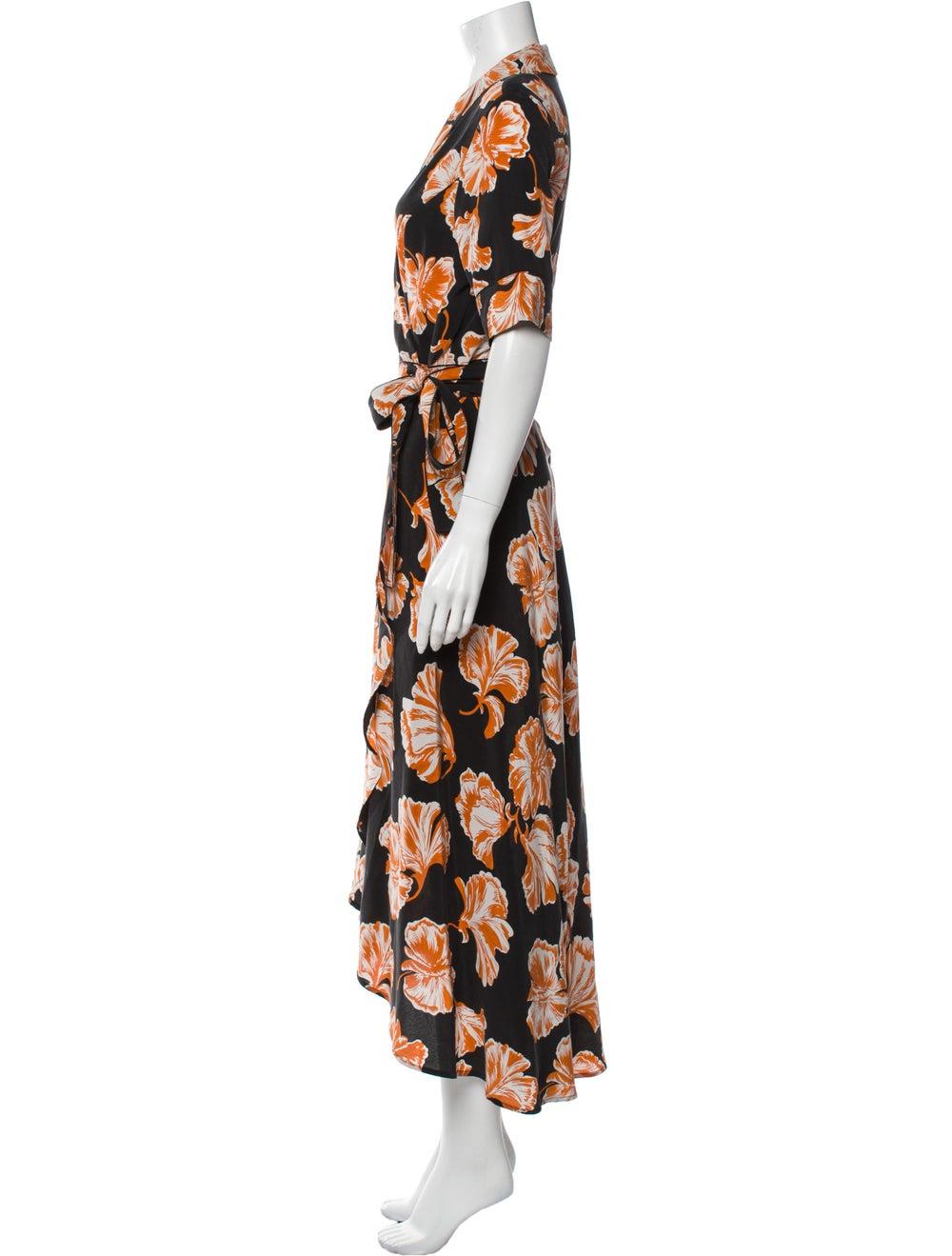 Ganni Silk Long Dress Orange - image 2