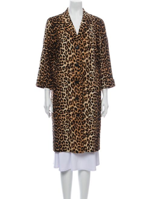 Ganni Animal Print Coat Brown
