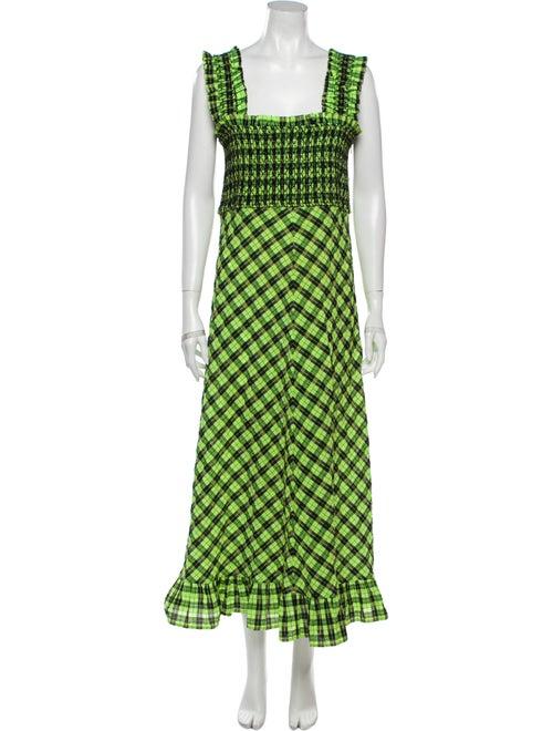 Ganni Printed Long Dress Green
