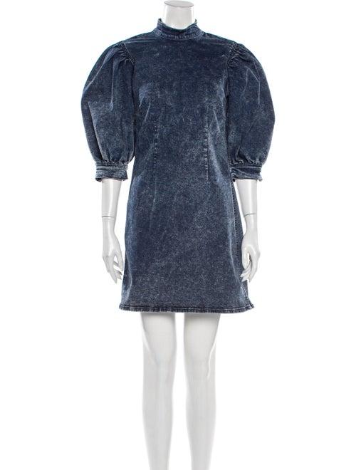 Ganni Mock Neck Mini Dress Blue