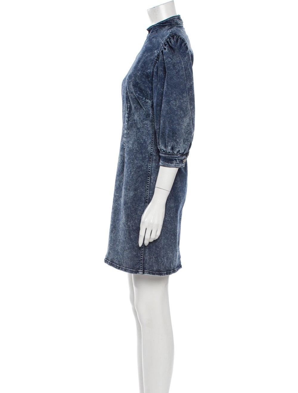 Ganni Mock Neck Mini Dress Blue - image 2