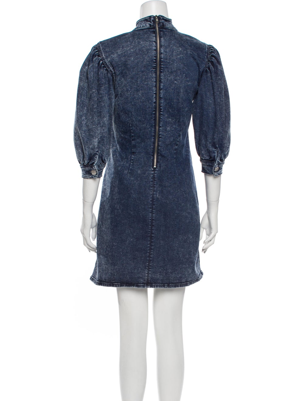 Ganni Mock Neck Mini Dress Blue - image 3