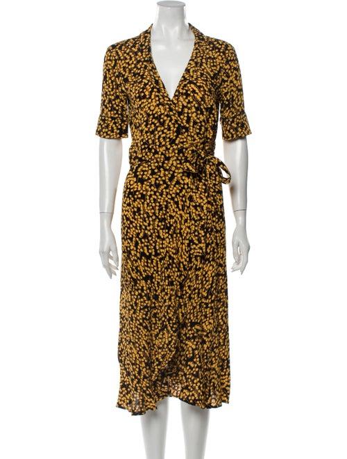 Ganni Printed Midi Length Dress Yellow