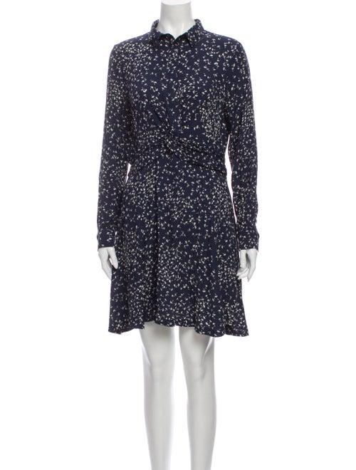 Ganni Floral Print Mini Dress Blue