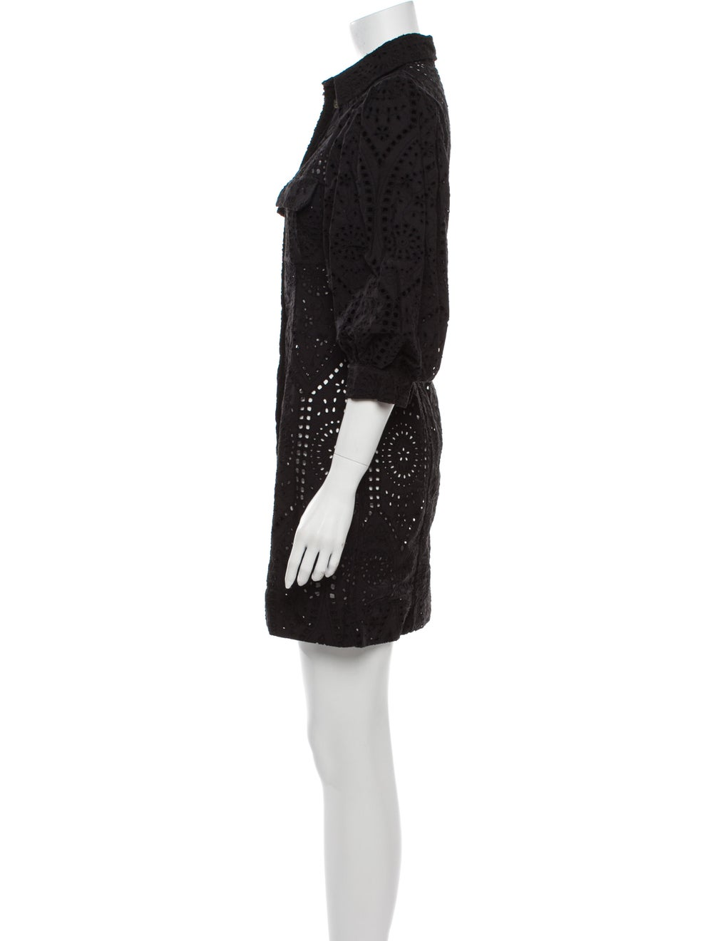 Ganni Lace Pattern Mini Dress Black - image 2