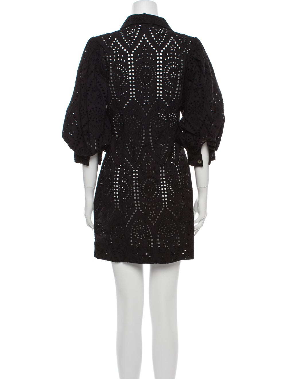 Ganni Lace Pattern Mini Dress Black - image 3
