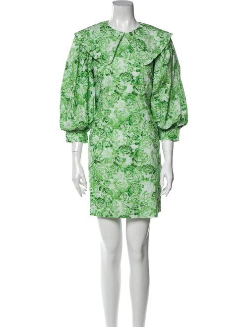 Ganni Floral Print Mini Dress Green