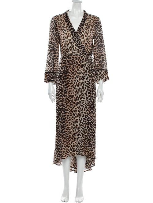 Ganni Animal Print Midi Length Dress